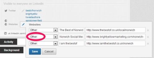 Website Links on contact info